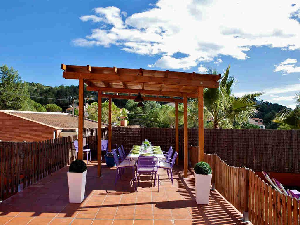Location de villa à sitges: salle a manger avec 8 places