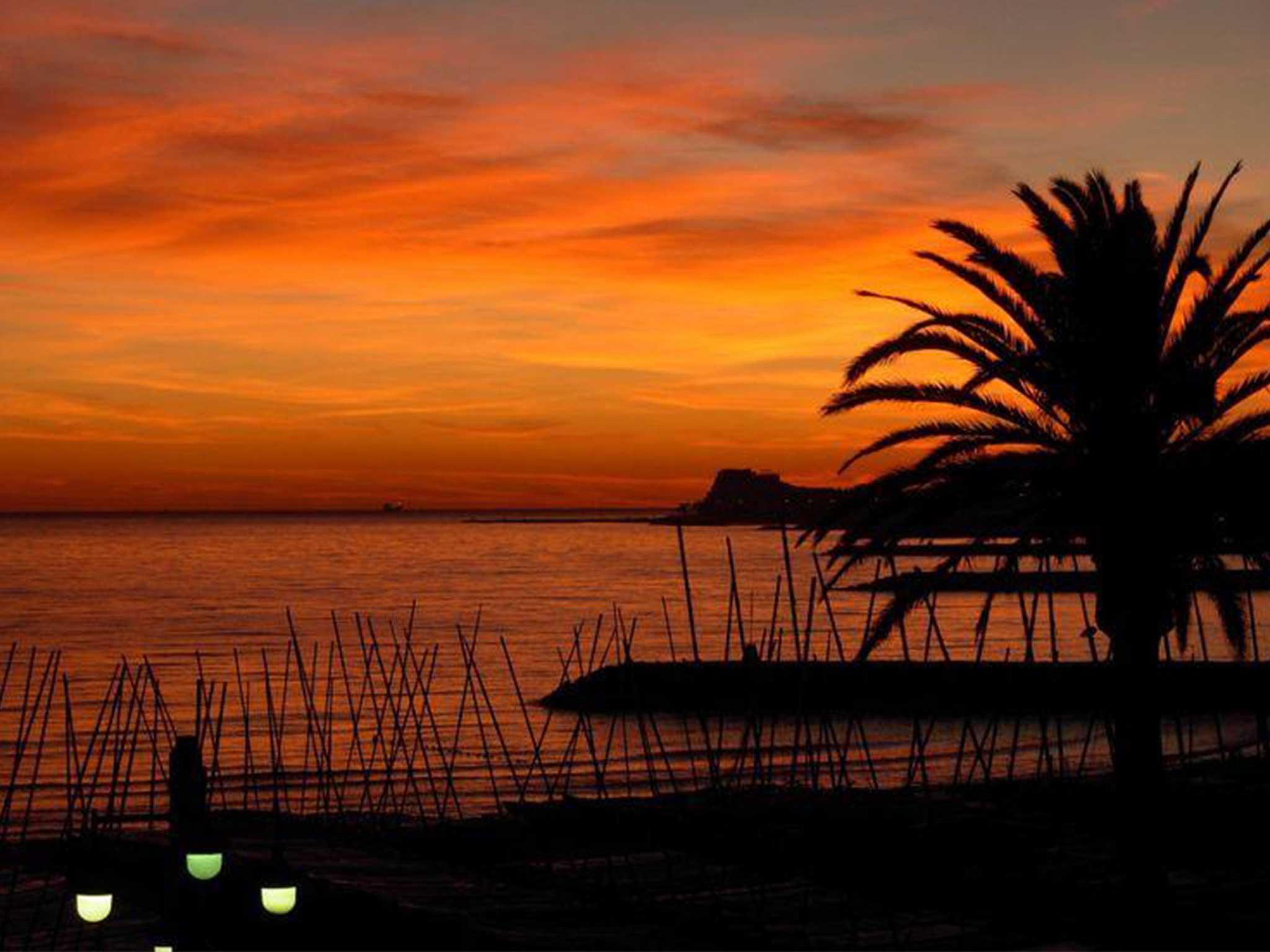 Appartement à louer à Sitges: coucher du soleil