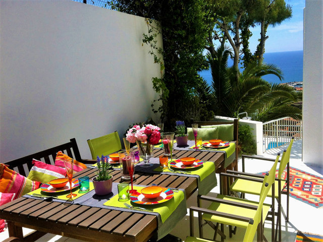 mediterranean villa in sitges and its lunch table