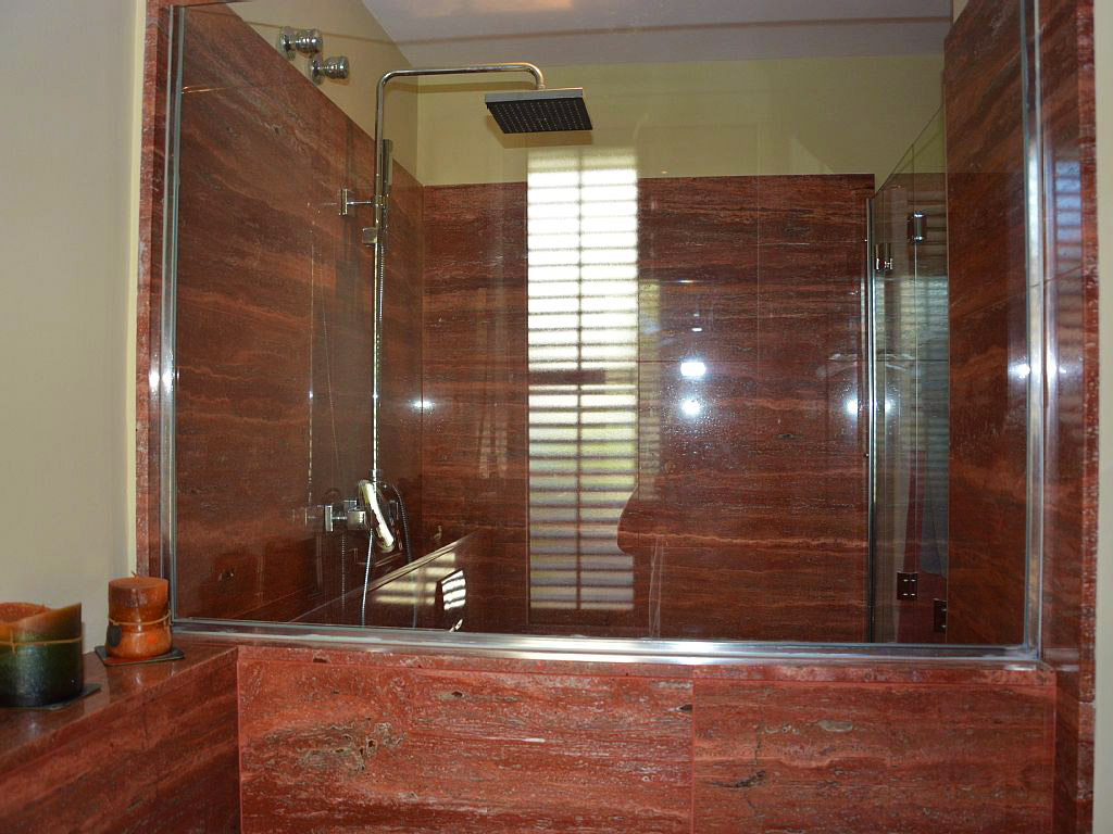 shower of the private bathroom in one of our holiday apartments in sitges