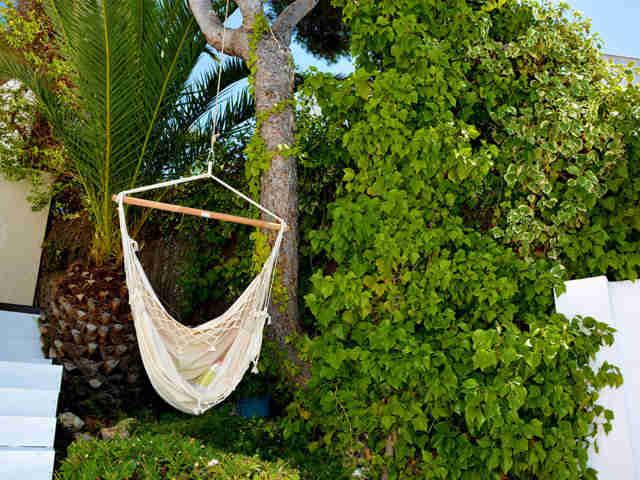 jardín mediterráneo de la casa de verano con piscina