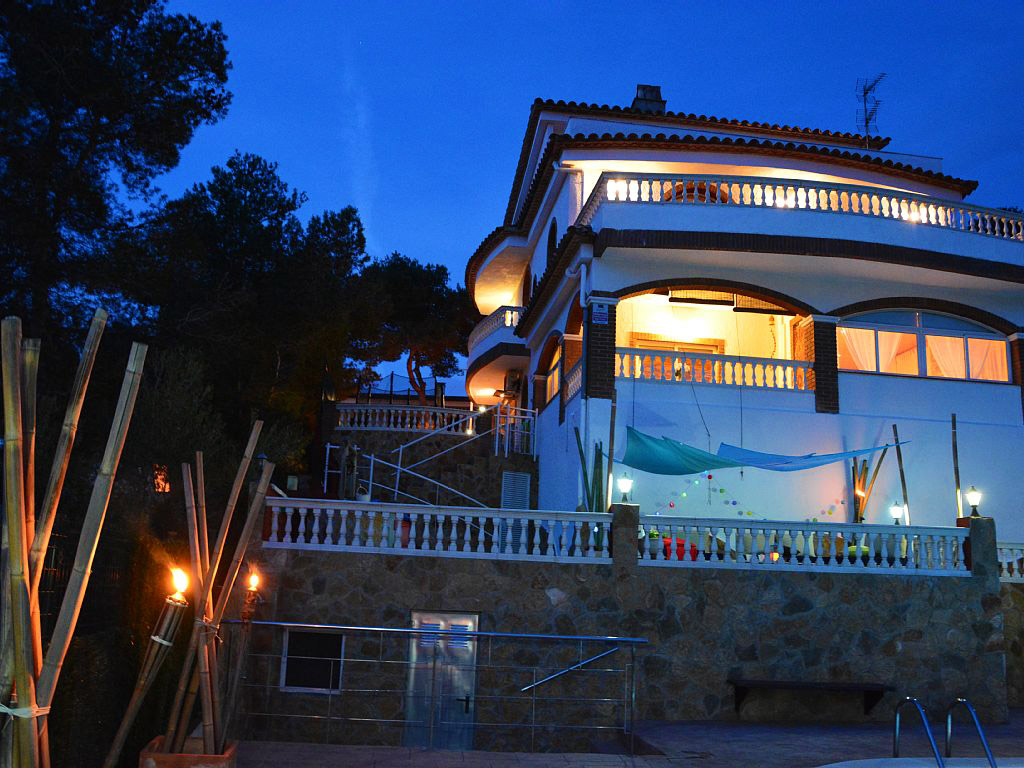 illuminated mediterranean house in Sitges by night