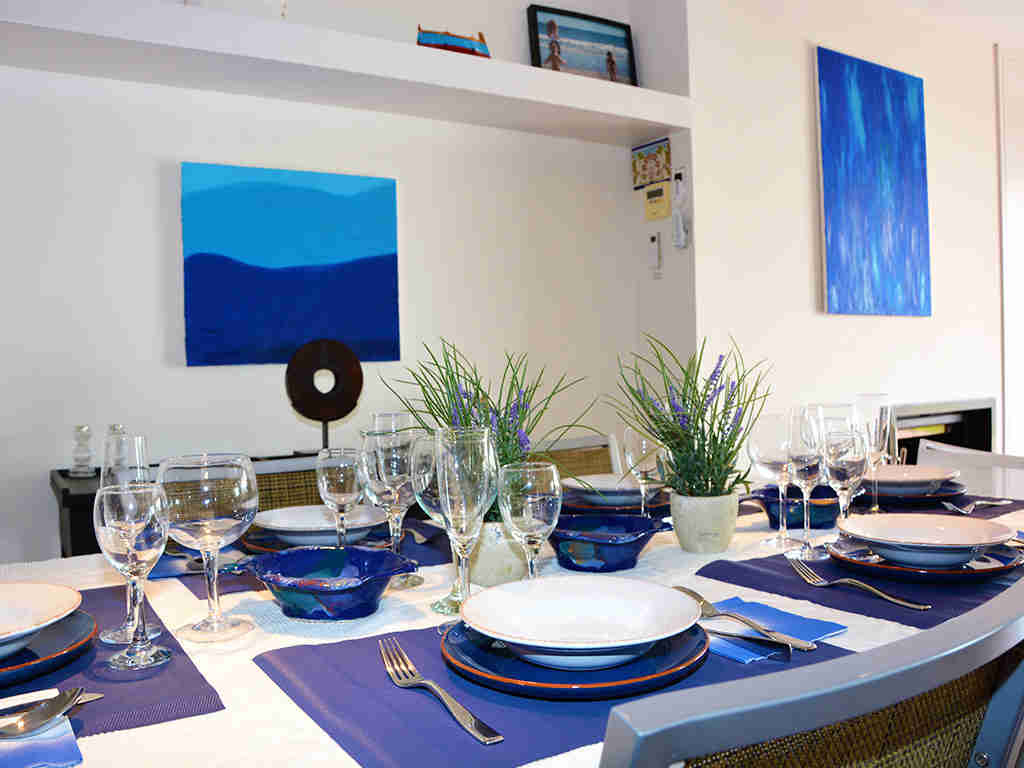 sitges apartments with pool and blue decoration