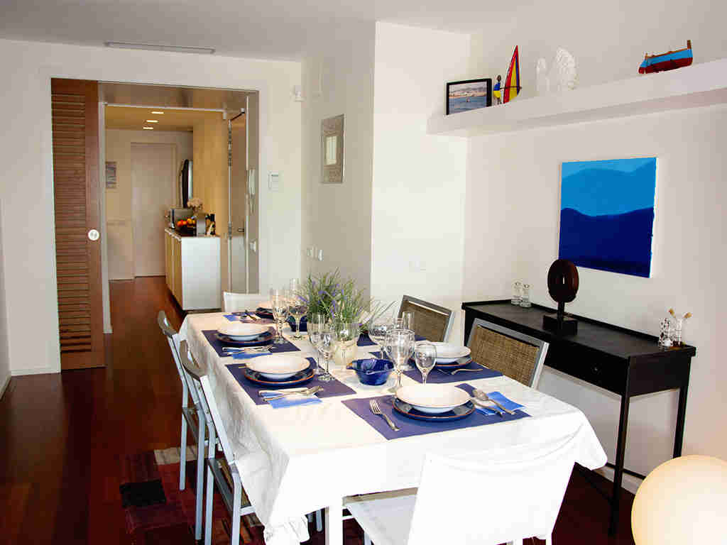 large dining room of the sitges apartments with pool