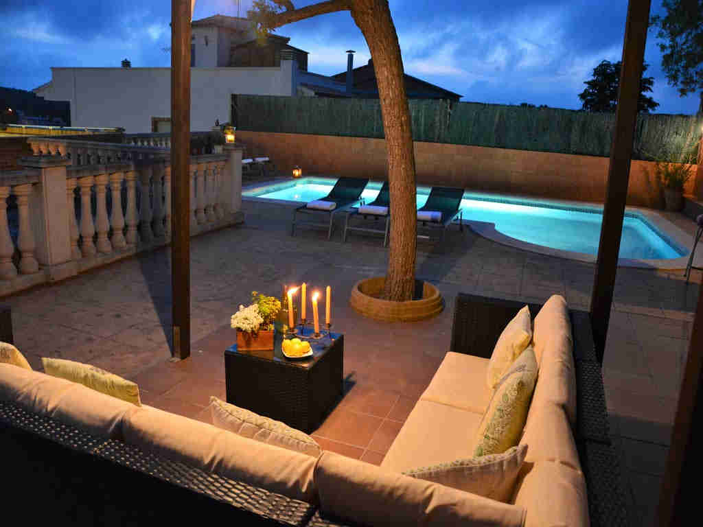 sitges villa with chill-out at night.