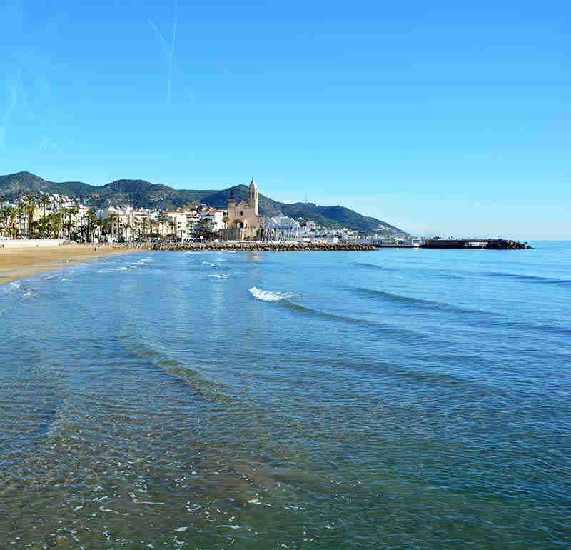 Sitges beach near the center of the town