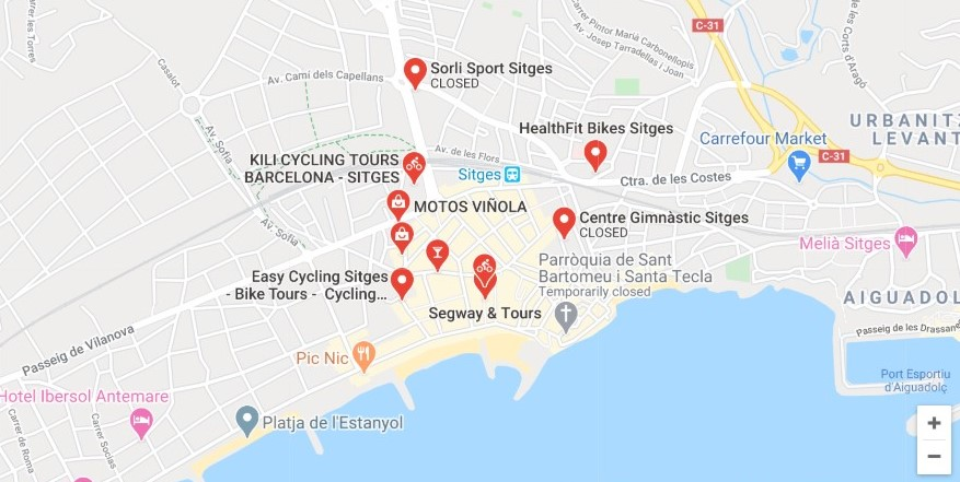cycling agency map in sitges